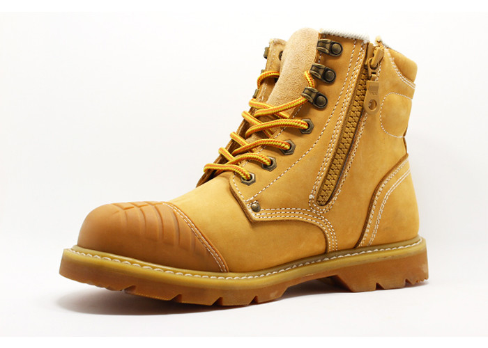 Tan / Brown Goodyear Welt Safety Shoes , Steel Toe Genuine Leather Work Boots